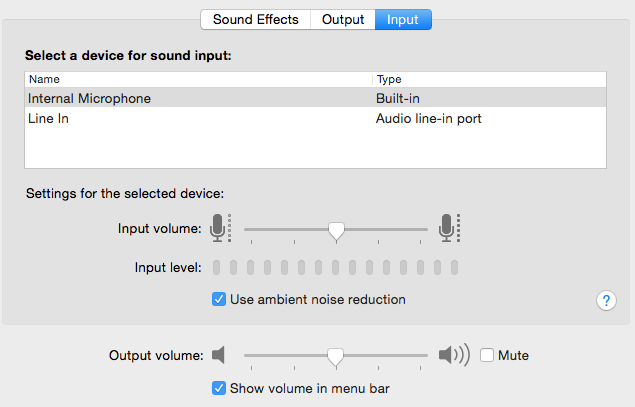 Normal sound input setting for the computer