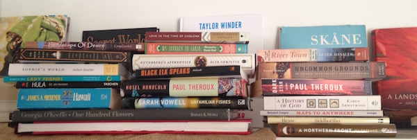 unread book pile